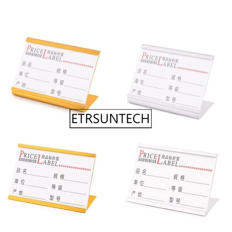 Soporte de señal de escritorio en forma de L de aluminio de 100 Uds., soporte para tarjetas, mesa, menú, etiqueta de servicio, oficina, Club, negocios, restaurante