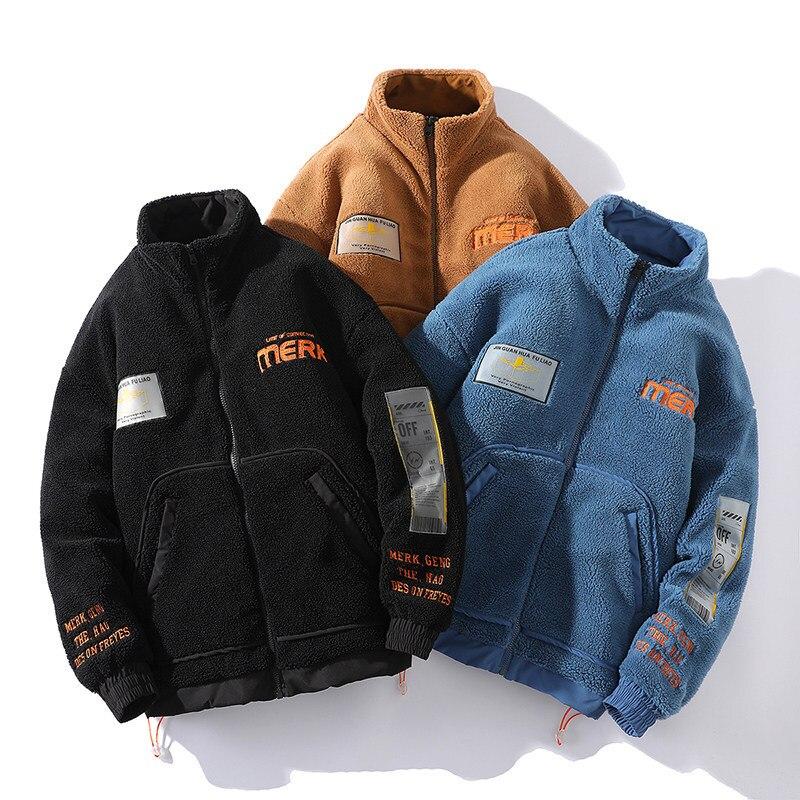 Парная флисовая куртка Ins Tide брендовая вышитая хлопковая куртка осень/зима теплая куртка Харадзюку пальто мужские куртки с подкладкой