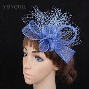 Bride Wedding Sinamay Fascinator Hat Hair Clip Veils Headwear Women Gorgeous Headdress Elegant Ladies Female Headdress Hair Pin