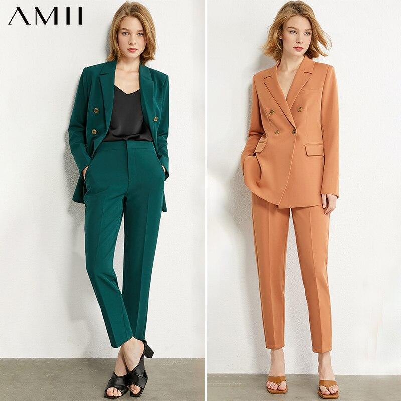 AMII Minimalism Spring Blazer Women Lapel Double Breasted Suit Coat Solid Vest High Waist Straight Female Pants 12040939