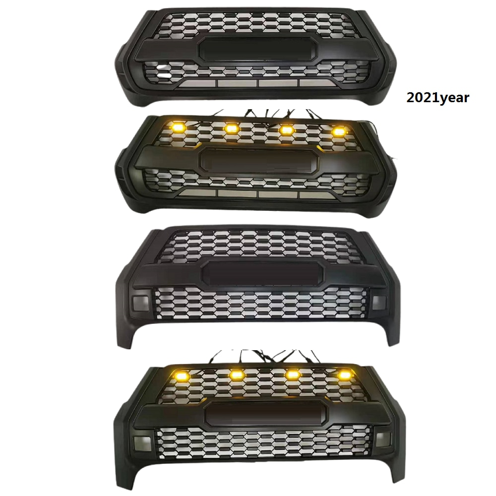 Modified Abs Front Grille Grills For Hilux Revo Rocco 2021Pickup Car Grille Exterior Auto accessories Parts Mesh Mask Bumper
