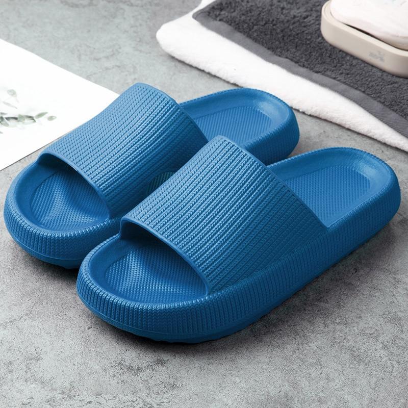 AliExpress - Fashion Thick Sole Soft EVA Indoor Slide Sandals Bathroom Non-slip Slippers Casual Beach Unisex Platform Men Women Home Shoes