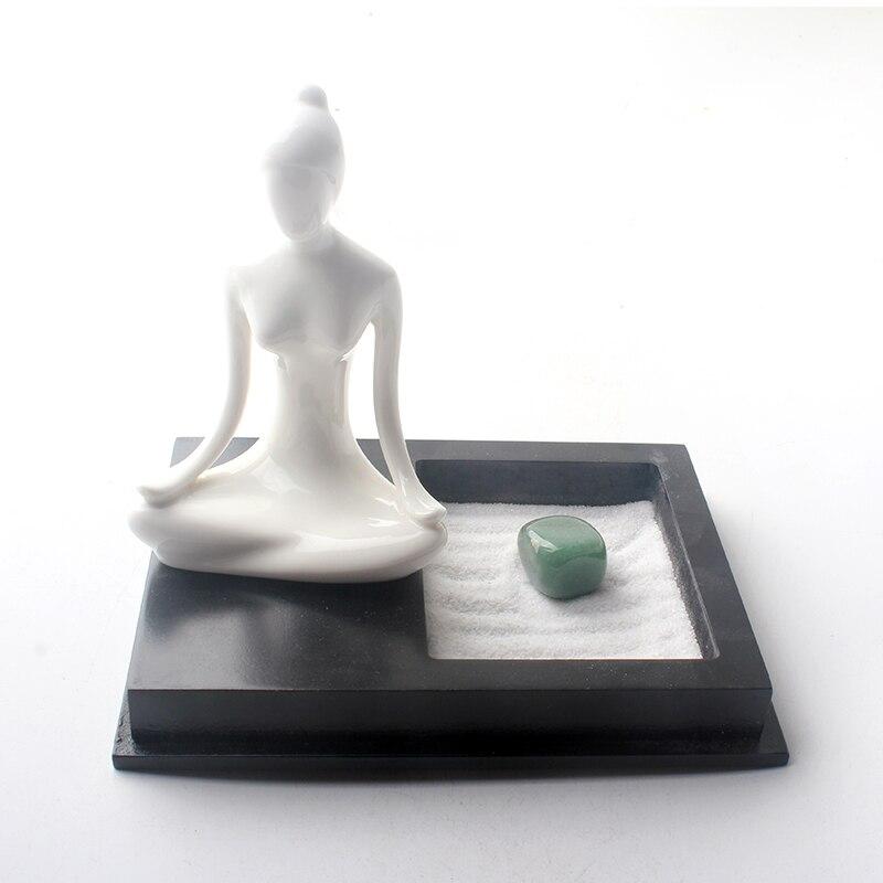 Mesa de meditação areia jardim zen-desktop meditando mini jardim zen com estátua, areia e bandeja
