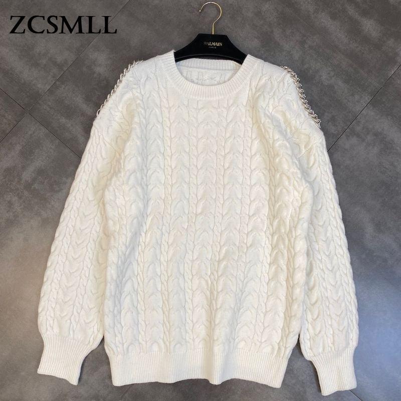 ZCSMLL 2021 الخريف والشتاء الرقبة المستديرة بلا حمالات طويلة الأكمام الماس سلسلة الديكور الكتان نمط فضفاض سترة المد