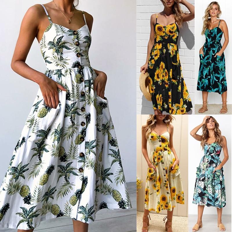 Летнее платье Цветочный принт в повседневном стиле с открытой спиной на пуговицах без рукавов Офисные размера плюс 2020