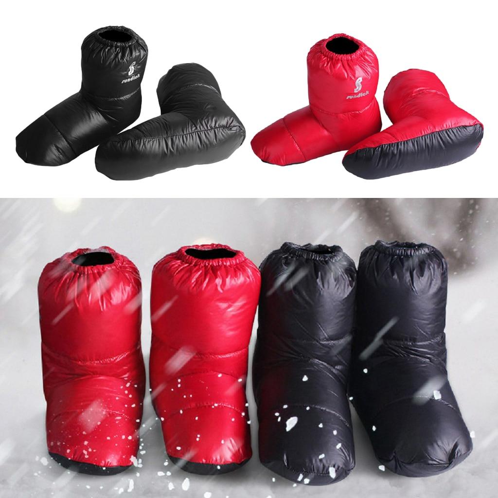 Pantuflas suaves de plumón de pato, botines cálidos de invierno para pies para exterior, calzado para Camping, calcetines deportivos cálidos