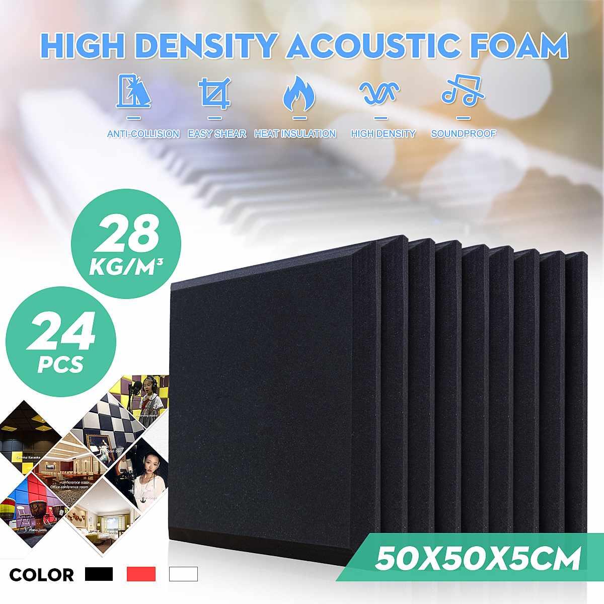 لوحة صوتية لامتصاص الضوضاء 50 × 50 × 5 سنتيمتر ، رغوة امتصاص الصوت لمعالجة الصوت ، 24 قطعة ، 4 ألوان