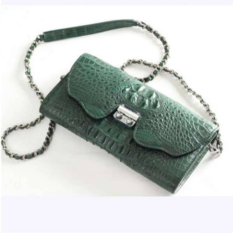 حقيبة سلسلة جلد التمساح الحقيقية من ourui للسيدات حقيبة جلدية للسيدات حقيبة سلسلة طويلة للسيدات جلد الرأس للنساء