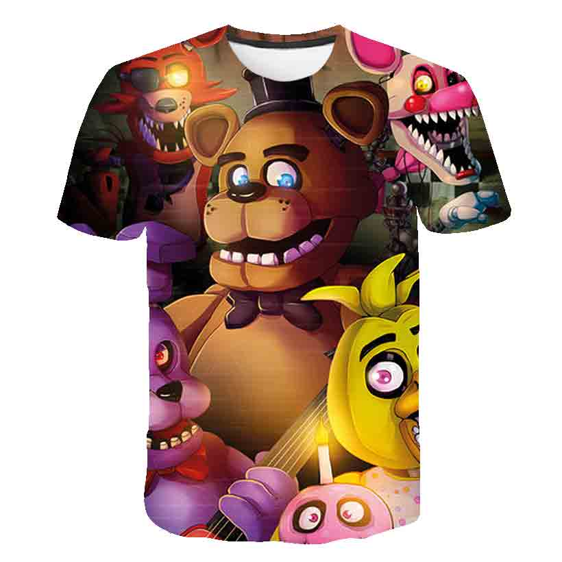 3D Freddie T-shirt high quality men's T-shirt clothes Kpop FNAF cartoon anime tee jogging casual wear