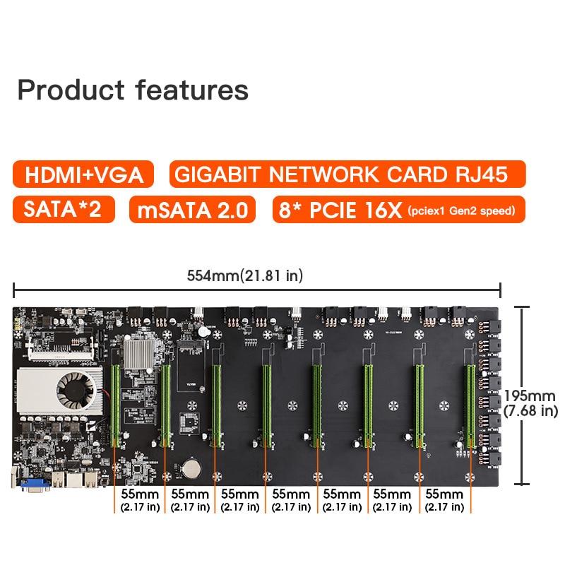 BTC-D37 Mining Motherboard VGA 8PCIE 16X 8GB Video Card Support 1066/1333/1600MHz DDR3/DDR3L BTC-D37 Mining Motherboard