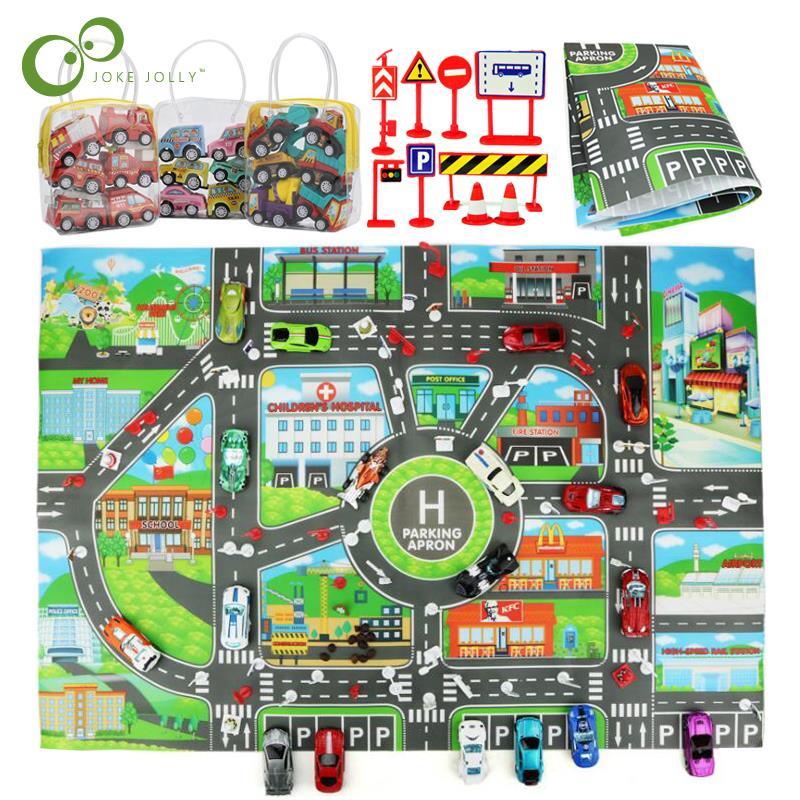 Crianças diy carro mapa de estacionamento brinquedos com puxar para trás carros bebê jogando esteiras crianças cidade estacionamento mapa roteiro versão inglês gyh