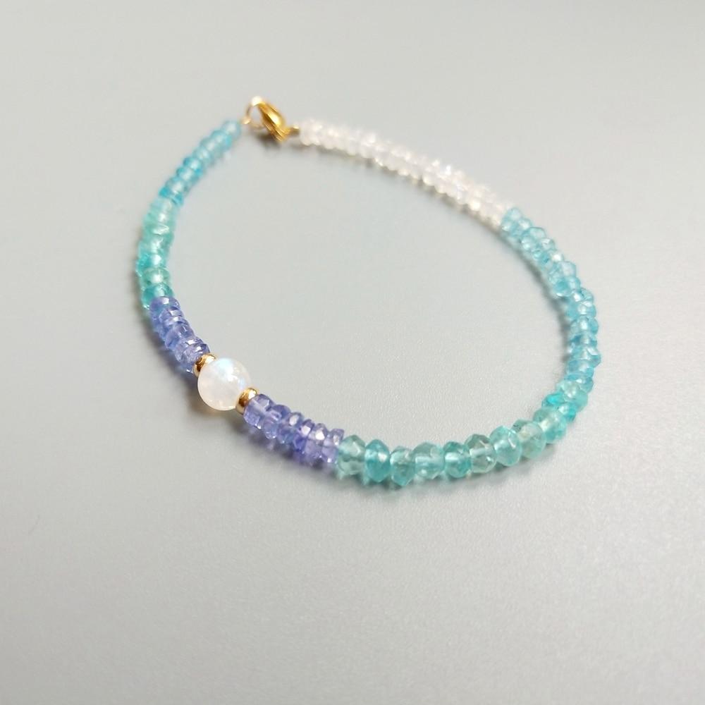 Lii Ji prawdziwy naturalny apatyt tanzanit kamień księżycowy bransoletka amerykańska 14K GF delikatna bransoletka dla kobiet moda biżuteria