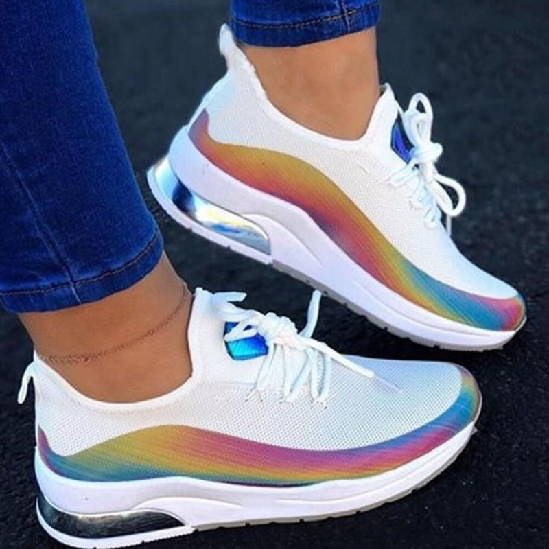 Women Colorful Cool Sneaker Ladies Lace Up Vulcanized Shoes Casual Female Flat Comfort Walking Shoes