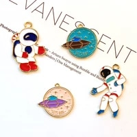 10pcs spacecraft astronaut enamel charms cartoon gold color alloy earrings pendants fit diy keychain jewelry accessories fx447