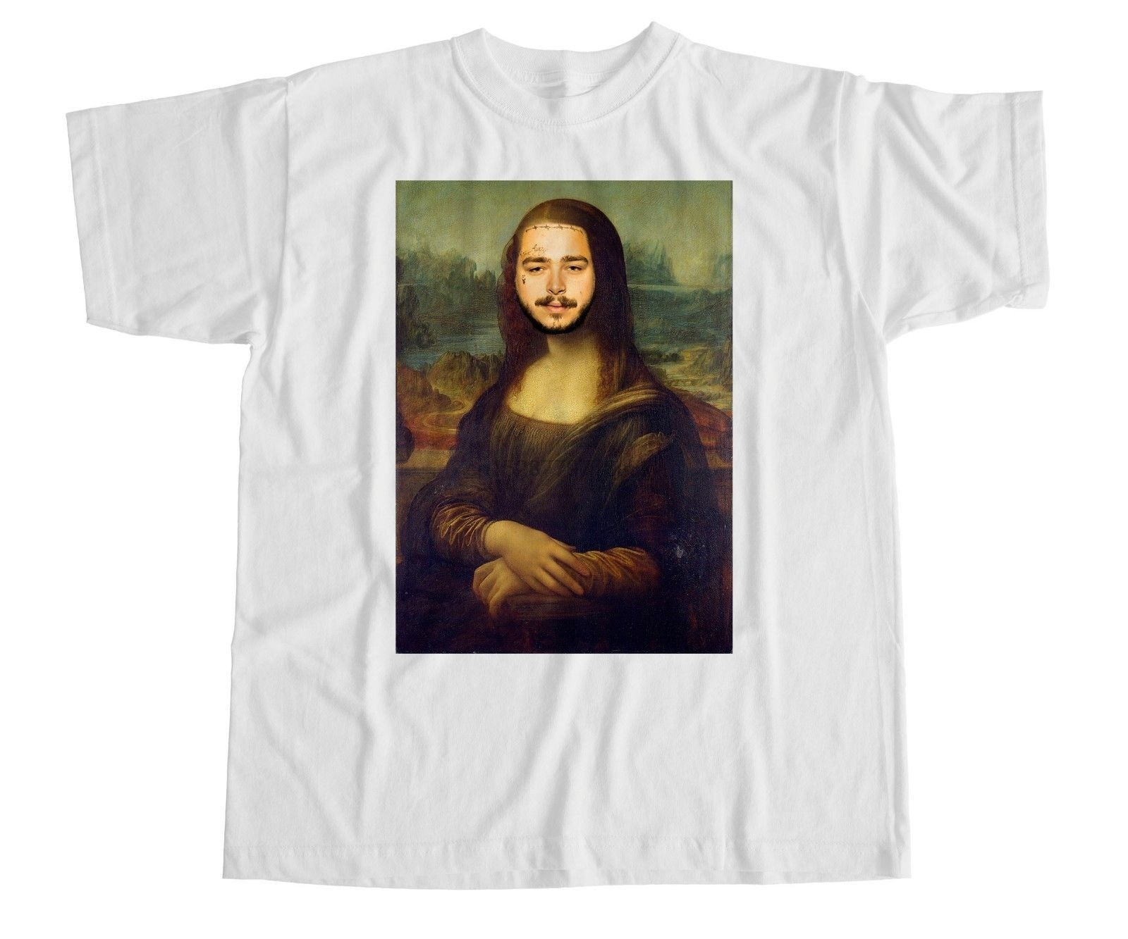 Post Malone Mona Lisa parodia T Shirt Stony blanco Iverson Hip Hop divertido 100% algodón camiseta marca Camisas jeans impresión