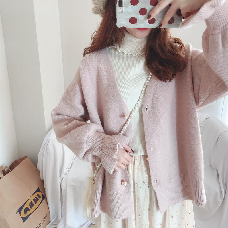 Beautiful knitted cardigan women's spring 2020 new lazy style solid color with loose student sweater and thick coat enlarge