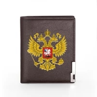 russian double headed eagle printing mens wallet leather purse for men credit card holder short male slim coin money bags
