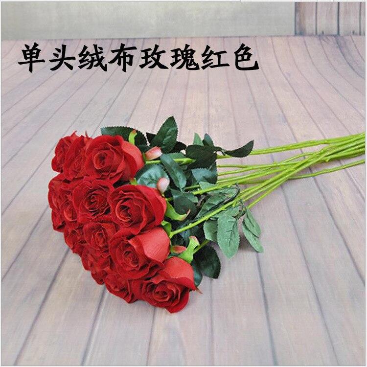 Modelo única garrafa de veludo rosa artificial flor dia dos namorados presente casamento imitação flores rosa sala estar decoração han