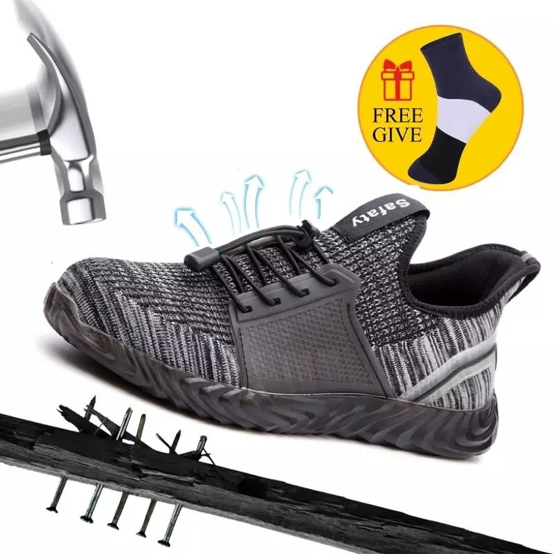 Tênis para Segurança do Trabalho Respirável para Homens e Mulheres Sapatos de Segurança do Trabalho à Prova de Punção Tênis Industrial Confortável