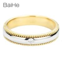 baihe solid 14k yellowwhite gold 0 04ct hsi round natural diamond fine jewelry wedding band women gift beautiful diamond ring