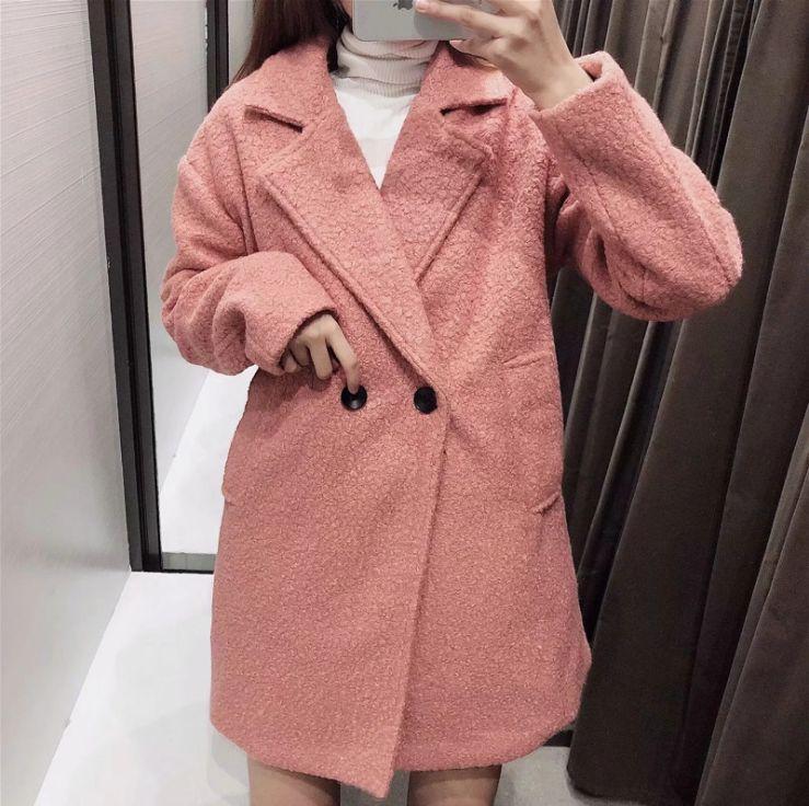 HCBLESS Womens Woolen Coat 2019 autumn new circle woolen coat womens long