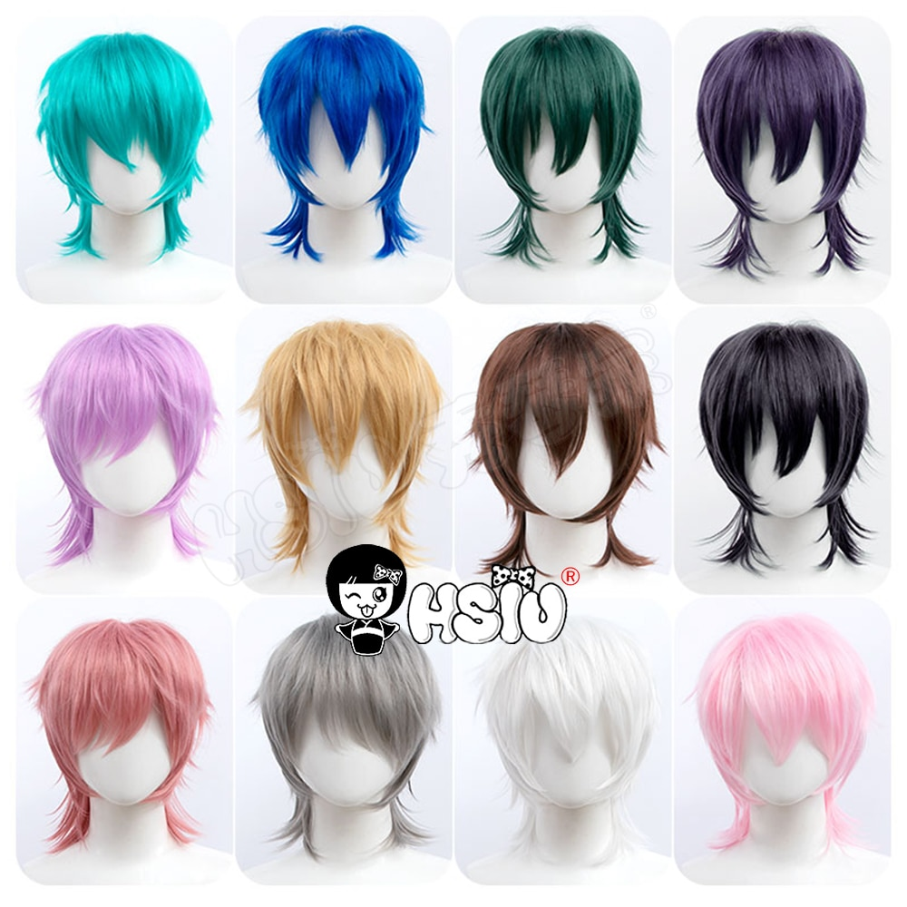 Short hair fluffy style cosplay wig「HSIU 」Fiber synthetic wig 22 color Black white purple blue red Party Cosplay wig