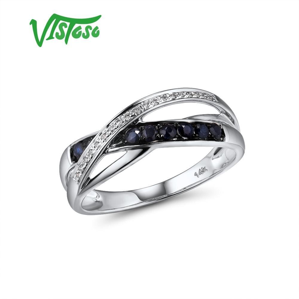 Showful-585 خاتم من الذهب الأبيض عيار 14 قيراطًا مرصع بالياقوت والماس اللامع ، مجوهرات الذكرى السنوية الجميلة ، للنساء