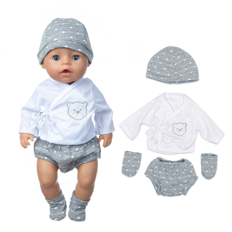 2020 New Baby New Born Fit 17 inch 43cm Doll Clothes Accessories Hat Trousers Jacket Socks 4-piece S