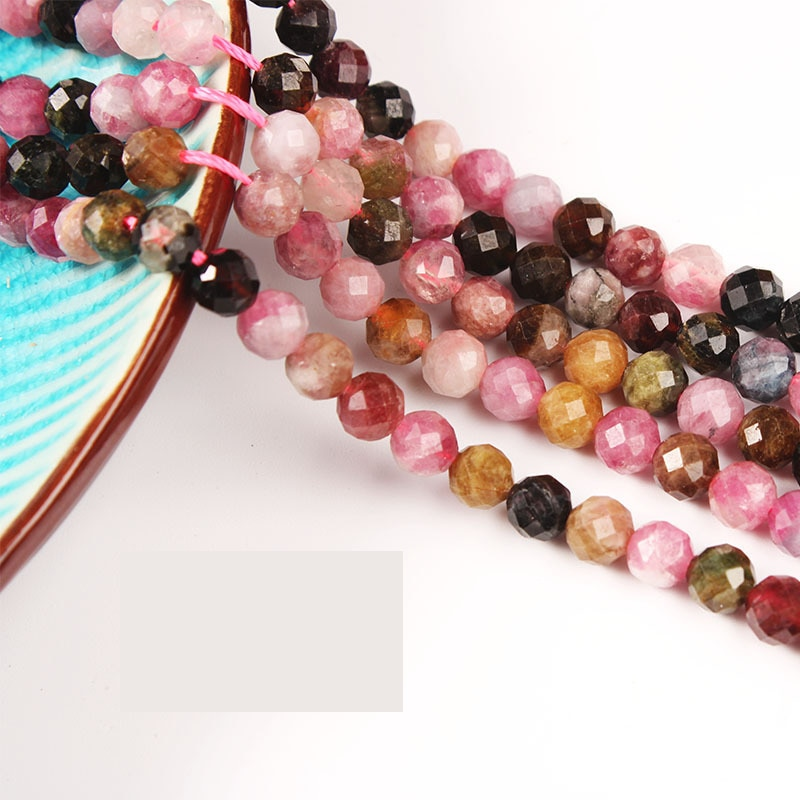 Wholesale Tourmaline Faceted Beads 2-6mm Natural Stone Loose Spacer Multicolor For Jewelry Making DIY Handmade Bracelet
