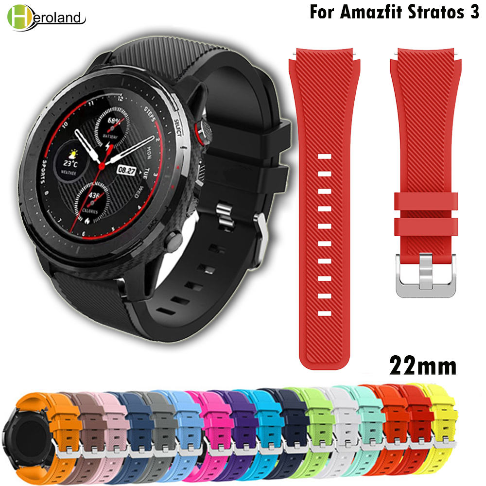 22MM silicone watch band for huami Amazfit Stratos 3 sport replacement Watch Bands for huami Amazfit Stratos 2 2S PACE strap часы amazfit stratos smart sports watch 2 a1619 черный