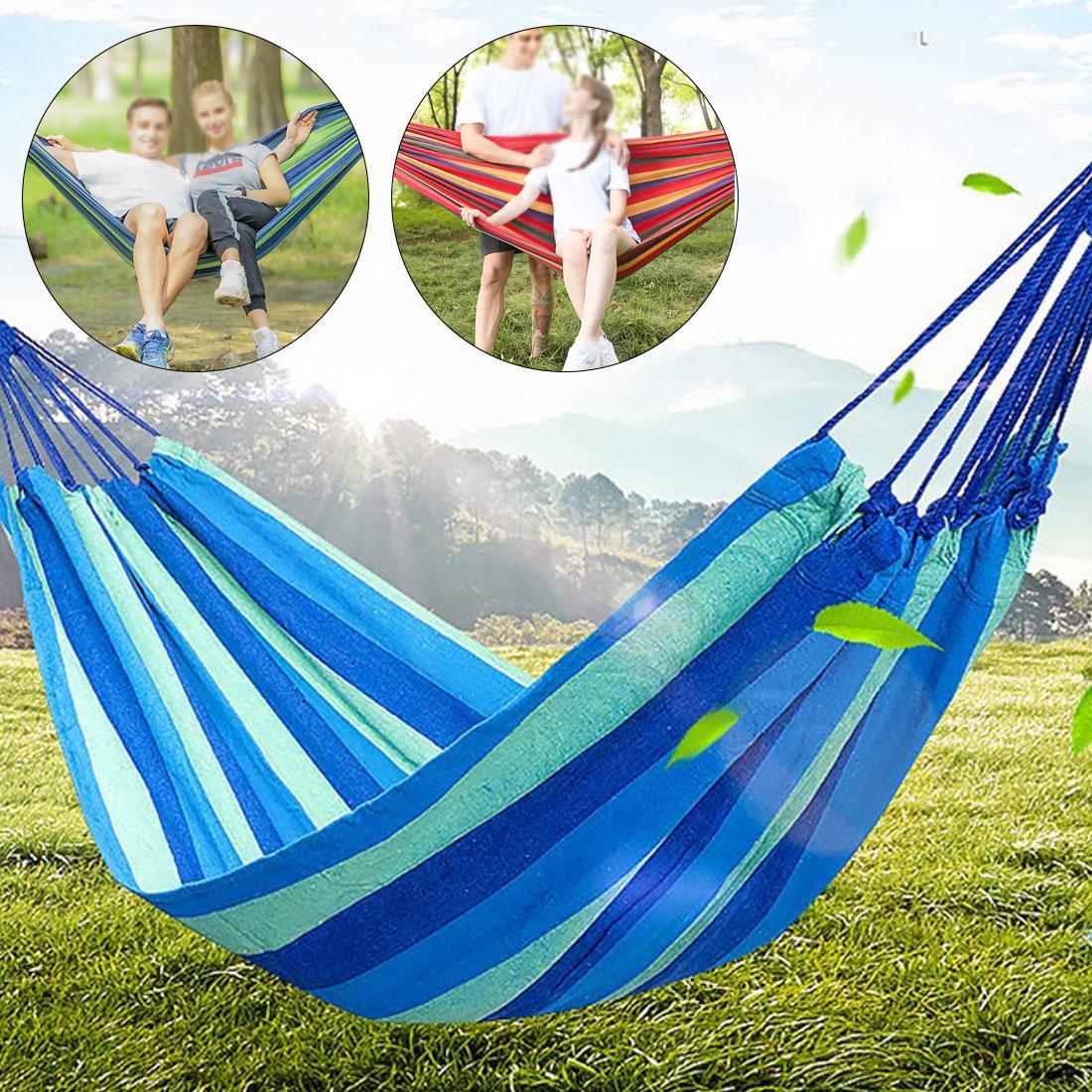 Canvas hammock portable hammock 150 kg load-bearing outdoor hammock 1 set single family travel camping swing striped hammock