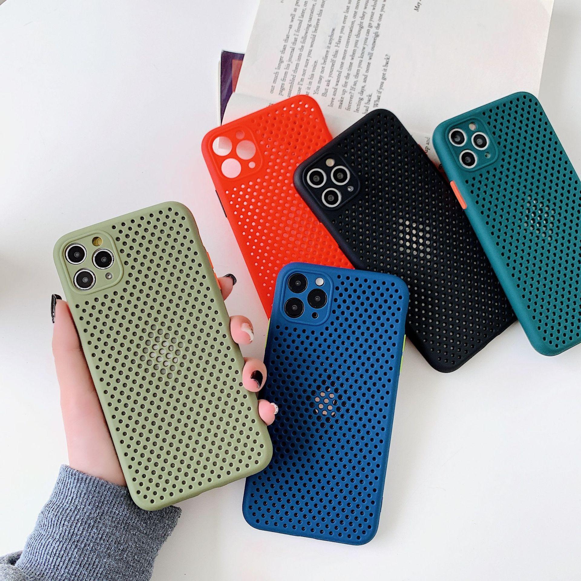 Zachte Tpu Plain Kleur Case Voor Iphones 11 11 Pro Max Xr Xs Max X 8 7 6S Plus 11 7 Warmteafvoer Ademend Cooling Telefoon Case