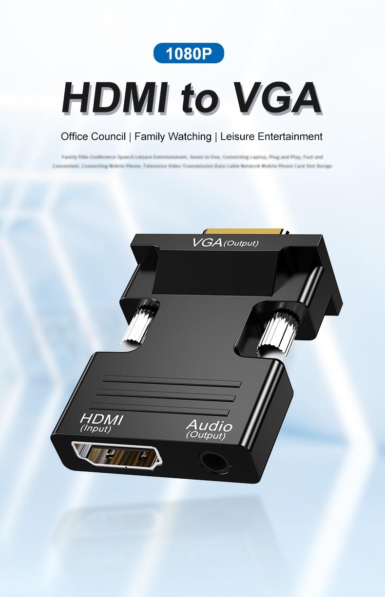 Hdmi-fêmea compatível para vga macho conversor 3,5mm adaptador de audio 1080p fhd...