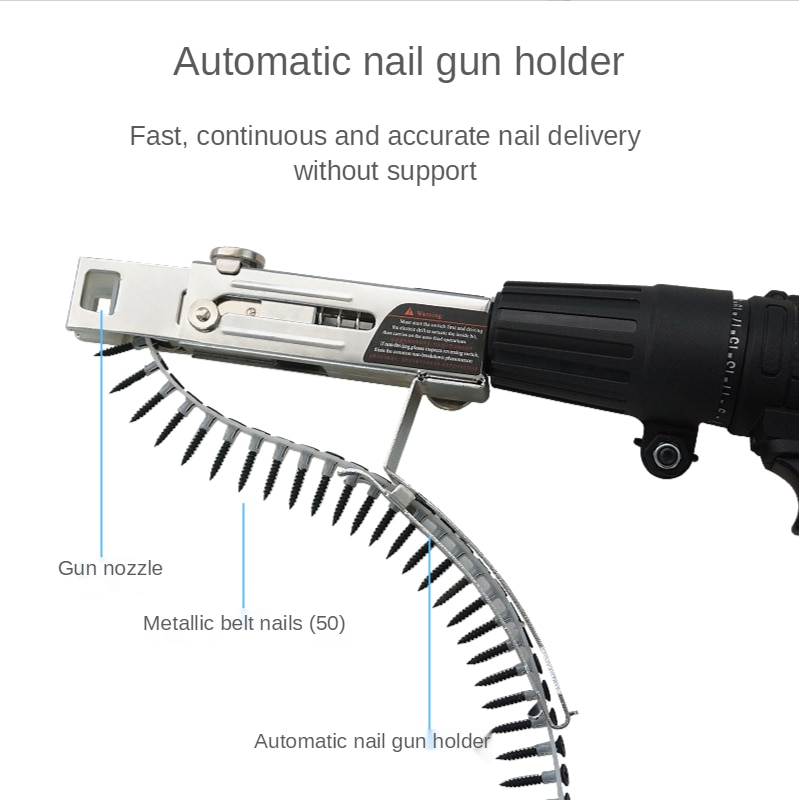 Automatic Chain Nail Gun Adapter Power Drill Attachment Screws Woodworking Tool Auto Feed Screwdriver Tape Chain Nail Adapter enlarge