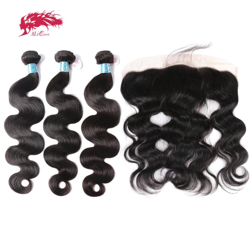 علي كوين-وصلات شعر بيروفية ، خيوط شعر بشري عذراء مموجة ، لون طبيعي ، 13x4 ، من الأذن إلى الأذن ، مع إغلاق