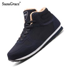 Susugrace Winter Plush Men Boots Brand Casual Women High-top Shoes Lace-Up Breathable Couple Footwea