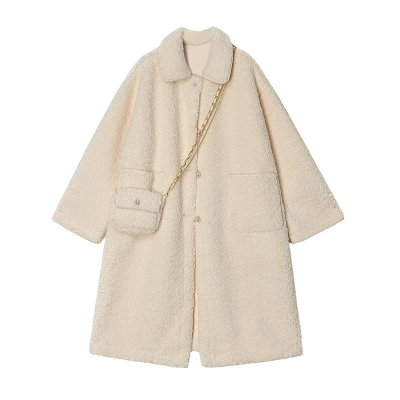 Повседневная плюшевая куртка [Free bag], 2021, Женская однотонная Свободная Повседневная двубортная Женская куртка средней длины с вырезом