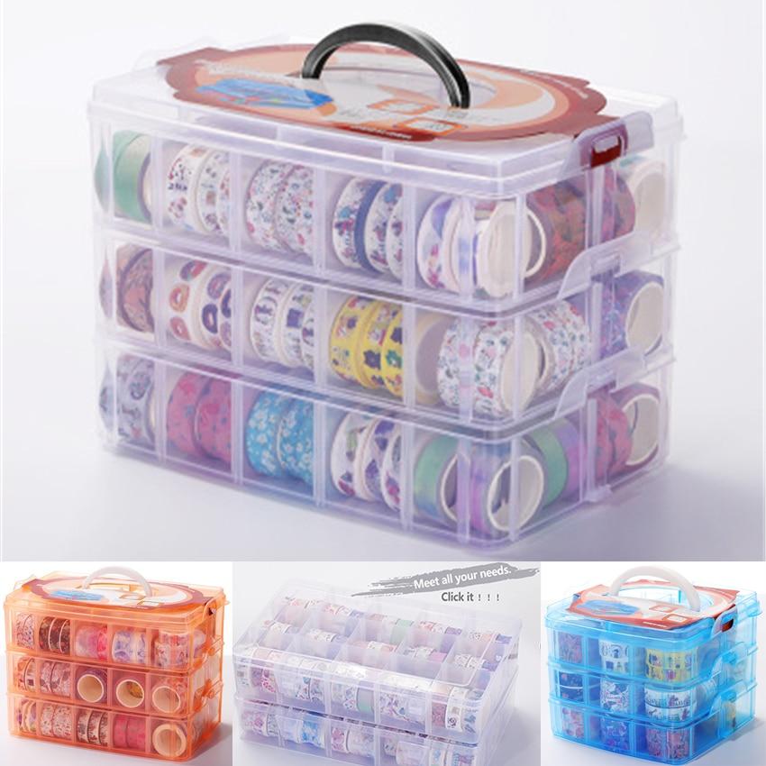 Multifunction Rangement Scrapbooking Storage For Bullet Journal Washi Tape Removable Scrapbook Organizer Box Toys Transparent