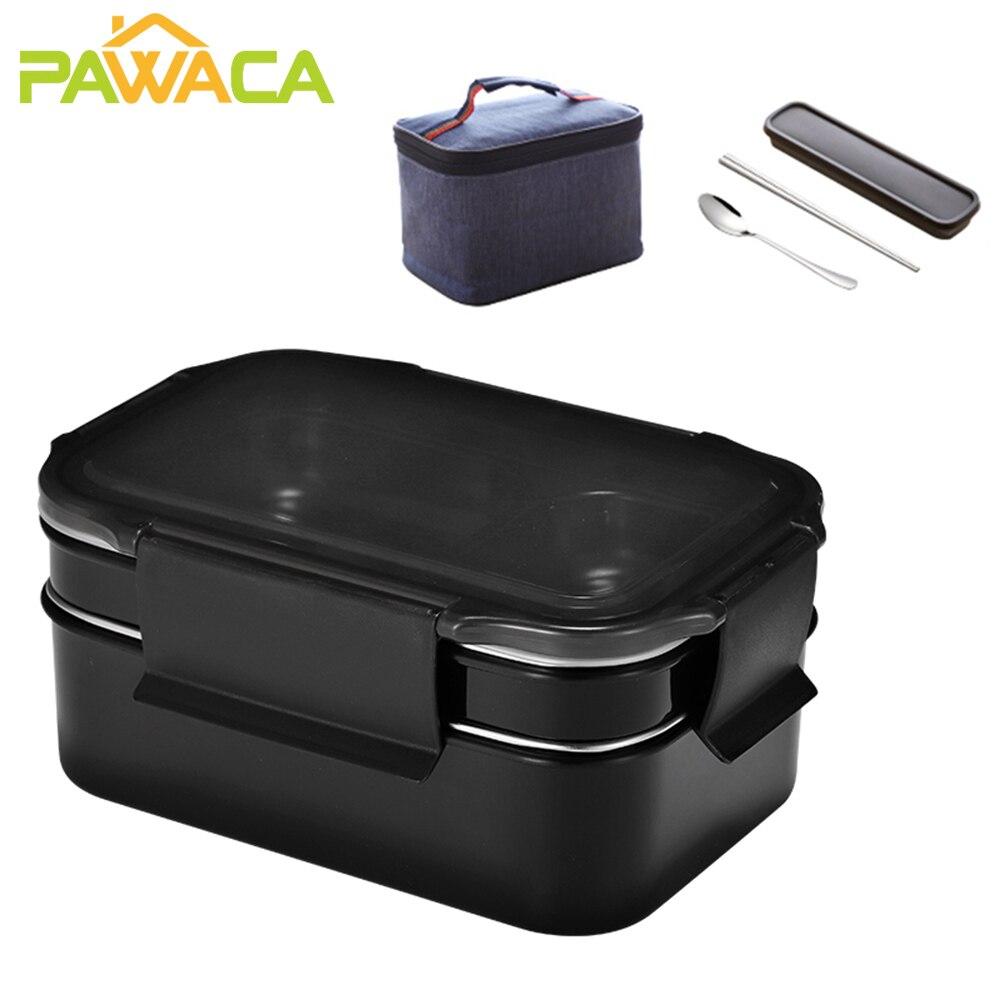 صندوق غداء من الفولاذ المقاوم للصدأ بطبقتين ، صندوق غداء حراري ، حاوية تخزين طعام مع أدوات مائدة وحقيبة غداء للمدرسة والمكتب