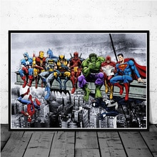 Superheroes Sit In Rows Funny Art Posters And Prints Marvel Spider Man Iron Man Home Decor Canvas Wall Painting For Living Room