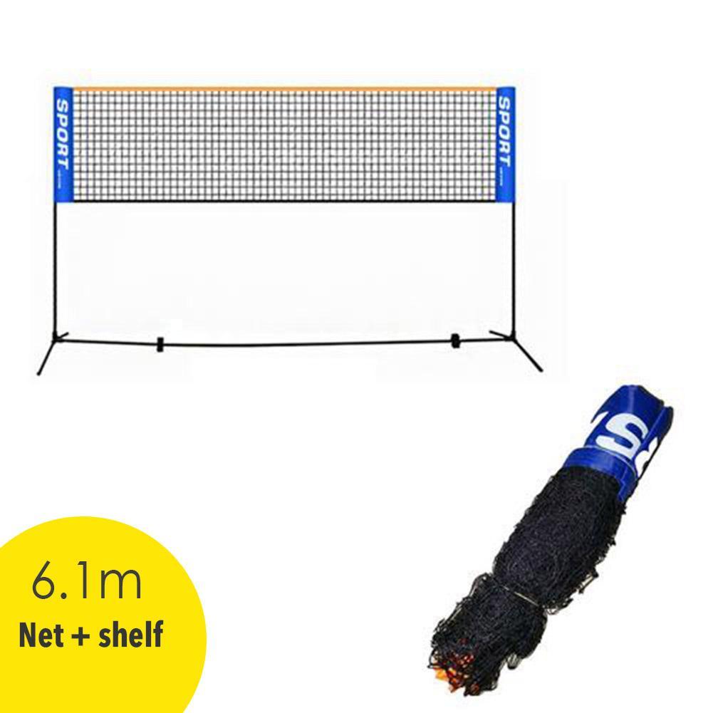 Filet de sport pliant Simple cadre antirouille filet de Badminton et étagère support de volley-ball 6.1m accessoires dentraînement en plein air