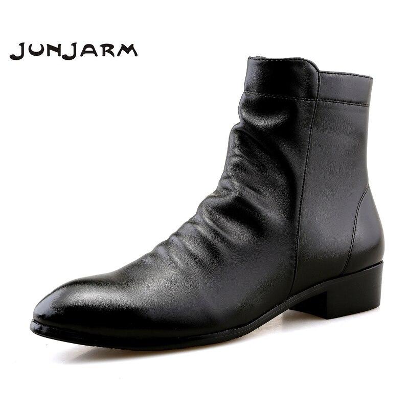 JUNJARM, botines de moda para hombres, botas de cuero suave para hombres, zapatos cálidos impermeables, calzado negro cómodo para hombres