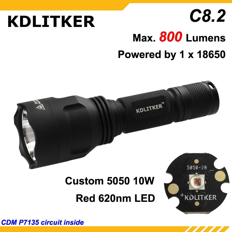 KDLITKER C8.2-Color Red 620nm 800 Lumens Camping Hunting LED Flashlight - Black ( 1x18650 )
