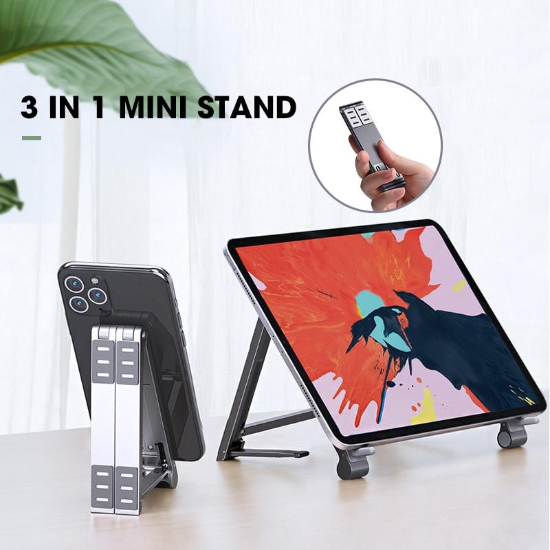 Mini soporte ajustable para ordenador portátil, 3 en 1, para Macbook y iPhone