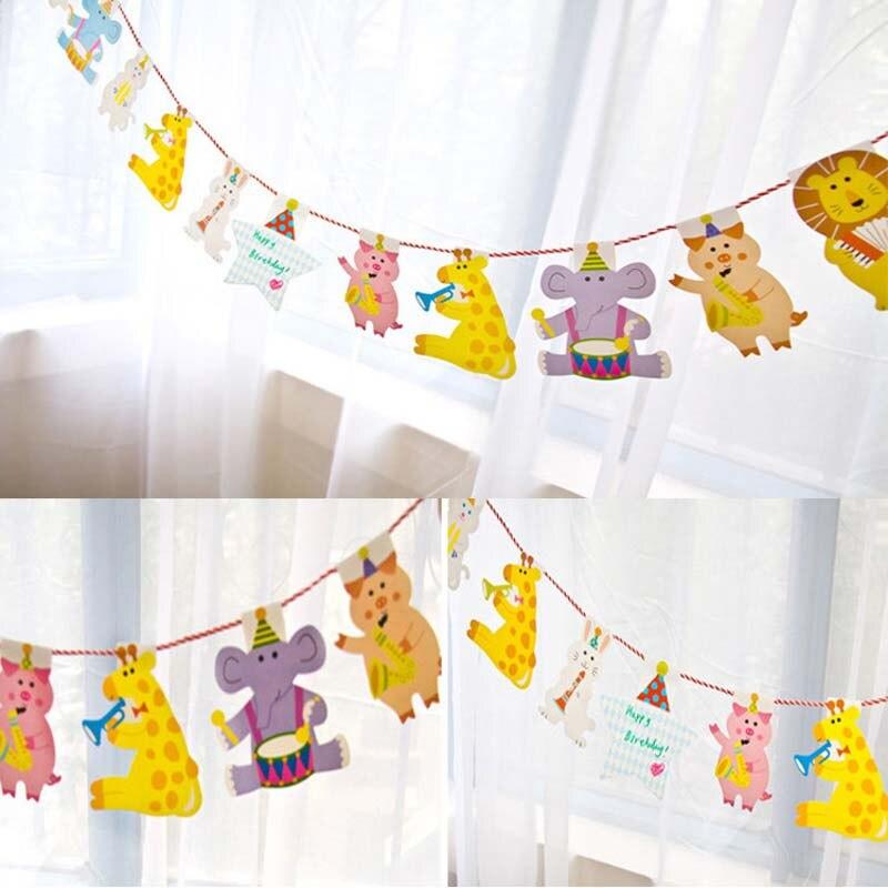 2 м/уп. мультфильм животных Pepa свинья Вымпел флаги дети первый день рождения украшение ребенок душ мальчик гирлянды фотостудия конфеты бар