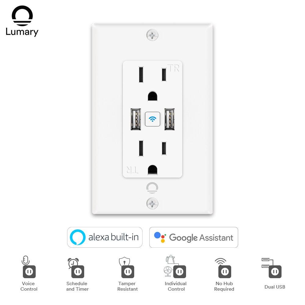 Lumary الذكي منفذ واي فاي في الجدار مع 2 منافذ USB يعمل مع اليكسا جوجل المنزل التحكم عن بعد يتطلب 2.4 GHz