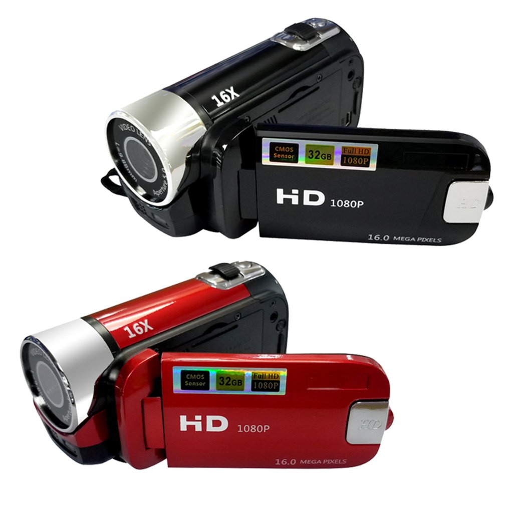 Vlog-1080P Full HD 16 مليون بكسل ، كاميرا فيديو رقمية ، شاشة 16 × ، تقريب ليلي