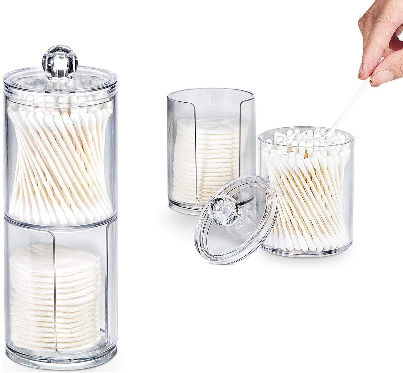 Acrylic Cotton Swab Makeup Organizer Storage Box Portable Container Make Up Cotton Pad Holder Cosmetics Organizer