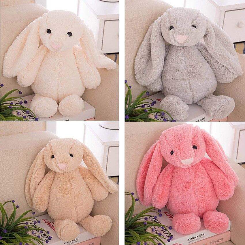 Милые мини-кролики с большими ушками в подарок подруге, мягкие детские мягкие Плюшевые Пушистые Игрушки для девочек, 25 см, серые, желтые, роз...