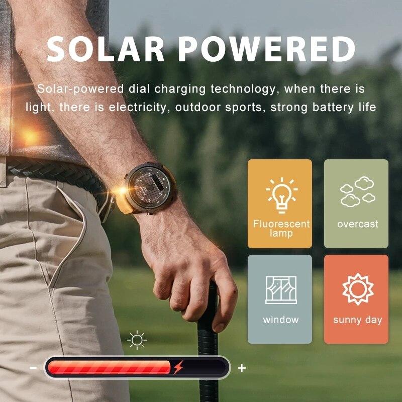 NORTH EDGE Men's Solar Watch Outdoor Sports Watch Full Metal Waterproof 50M Compass Countdown Stopwatch Smart Watch enlarge
